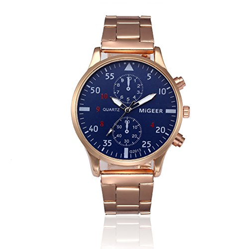 Holeider Herren Uhren Edelstahl Analog Armbanduhr Quarz Uhr mit Datum Kalender Multifunktionsuhr Vintage Militär Herren Analog Quarz Armbanduhr Lässige Sportuhr Luxus Elegante (Gold)
