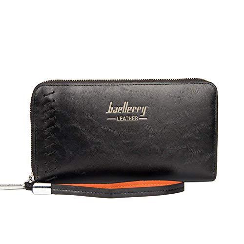 Young & Ming - Großen Herren-Geldbörsen Men Wallet Vintage-Stil mit Hand Strap 12 Card Slots 2 Cash Slots 1 Smartphone Tasche mit Reißverschluss
