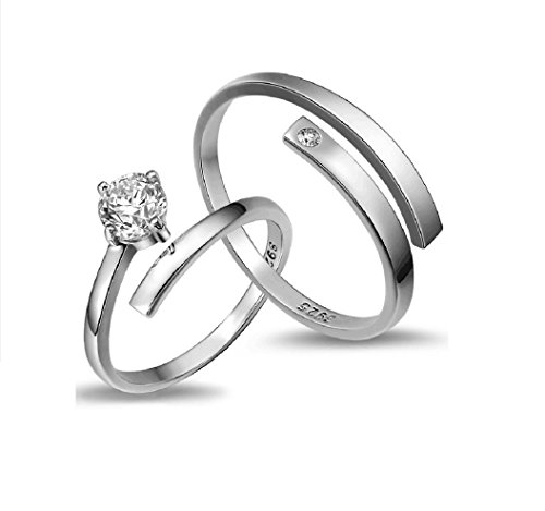 UC Brand Sterling Platinum Plated Adjustable Zircon Proposal Rings, Pair of Couple Rings for Girls and Boys