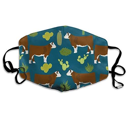 Daawqee Staubschutzmasken, Cow Cactus Face Masks Breathable Dust Filter Masks Mouth Cover Masks Elastic Ear Loop