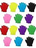 Bememo 14 Paar Kinder Winter Gestrickt Handschuhe Warm Dehnbar 5 Finger Handschuhe für Jungen Mädchen (7 Farben)