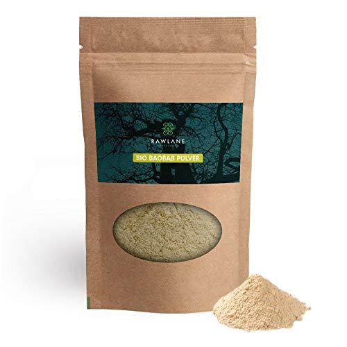 Baobab Pulver Bio 250g | Affenbrotbaum-Fruchtpulver aus kontrolliert biologischem Anbau | Rohkost | Reich an Vitamin C und Ballaststoffen | Vegan | Gluten- und Laktosefrei | Superfood von Rawlane -