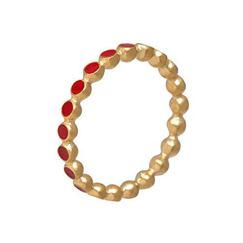 Pernille Corydon Pixel Ring Damen Gold Rot Emaille - Pixelring aus der Daylight Kollektion - Silber 18 Karat vergoldet - Größe 52 - R607g-52