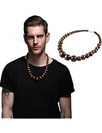 EVBEA Collar pechero De Cuentas De Madera, Cadena De Madera, a la moda, robusto, para hombres y mujeres