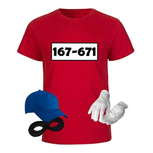 T-Shirt Panzerknacker Kostüm-Set Deluxe+ Cap Maske Karneval Kids 98-164 Fasching Sitzung, Größe:Gr. 152/164 (12-14 Jahre), Logo & Set:Standard-Nr./Set komplett (167-761/Shirt+Cap+Maske+Handschuhe)