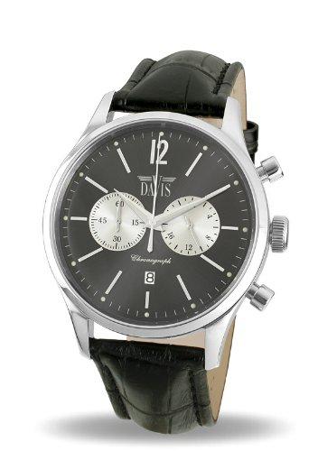 Davis - Montre Homme Retro Sport Vintage- Chronographe et date- Cadran Gris - Bracelet Cuir Noir