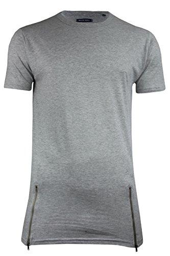 Herren Baumwolle Kurzärmelig Längere Länge Reißverschluss Detail T-shirt Von Brave Soul Schwarz - Grau