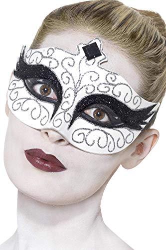 Augenmaske Gothic-Schwan Weiß Bänder seitlich, One Size