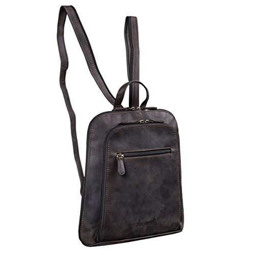 STILORD 'Talisa' Kleiner Leder Rucksack Damen Vintage Rucksackhandtasche Lederrucksack Handtasche City Ausgehen Shopping Daypack, Farbe:dunkel - braun