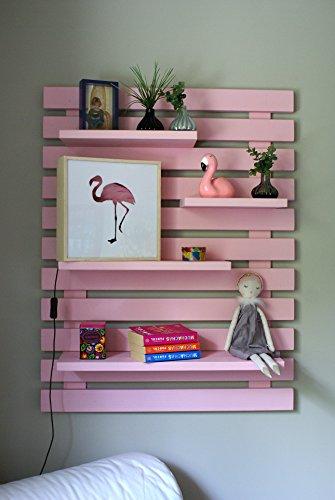 Liza line libreria da parete (rosa) stile vintage, libreria a giorno con 4 ripiani regolabili in vero pino massello, ideale per corridoio, cucina, salotto, bagno, camera. 101x80x21 cm