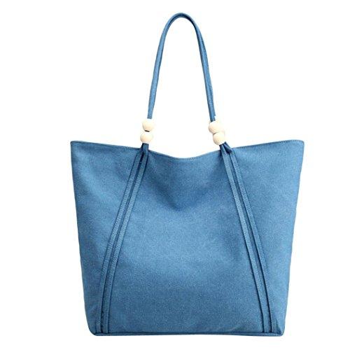 Longra Borsa a spalla singola singola borsa di tela di svago delle donne di colore solido semplice Blu
