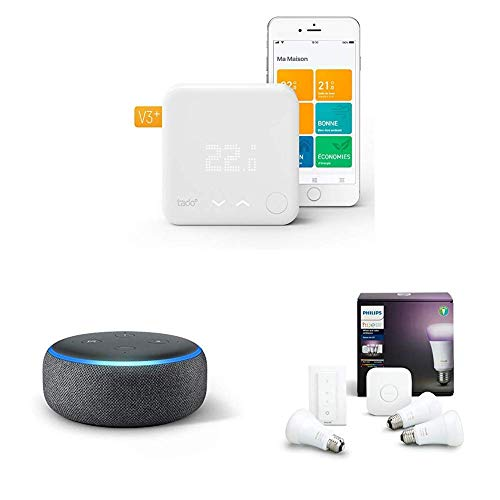 Tado Smart Thermostat with Echo Dot and Philips Hue White and Colour Ambience Smart E27 Bulb Starter Kit