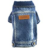 Joopet Haustier Hundekleidung Katze Blau Jean Denim Kleidung Welpen Mantel Jacke Button Front Outfit (L)