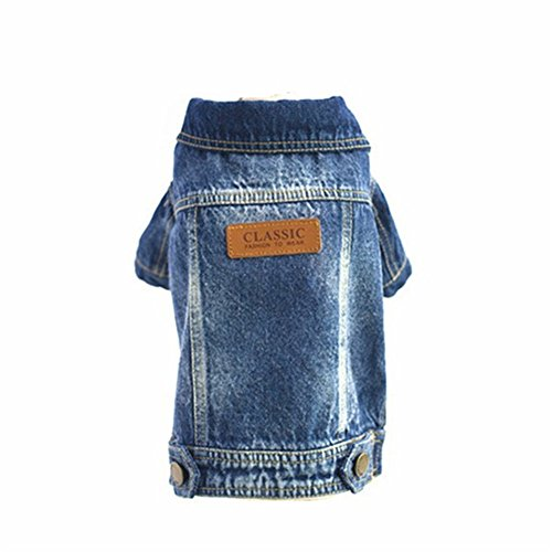 Joopet Haustier Hundekleidung Katze Blau Jean Denim Kleidung Welpen Mantel Jacke Button Front Outfit (S) Snap Front Denim