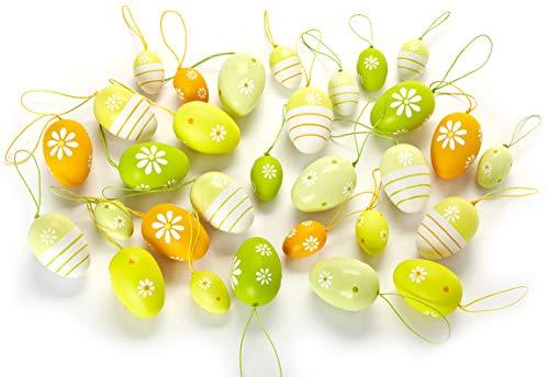 HEITMANN DECO Ostereier-Set - 30 Ostereier bunt gestreift und gepunktet - Sortiment mit Behang-Eiern