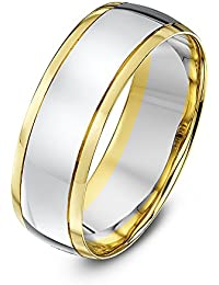 Theia Unisex - Ehering Weißgold Seiten mit Gelbgold Center Court Form