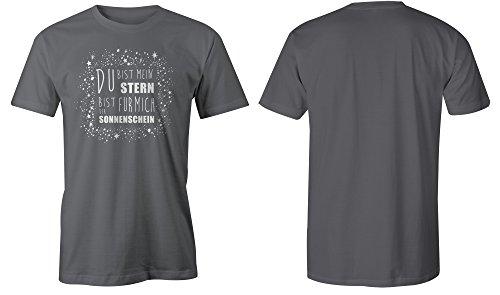 Du bist mein Stern bist fuer mich der Sonnenschein ★ Rundhals-T-Shirt Männer-Herren ★ hochwertig bedruckt mit lustigem Spruch ★ Die perfekte Geschenk-Idee (06) dunkelgrau