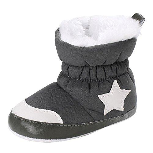 Fuibo Babyschuhe, Baby Boy Soft Booties Schneeschuhe Infant Kleinkind Neugeborenen Erwärmung Schuhe (2, Schwarz) (Leder Soft Booties)