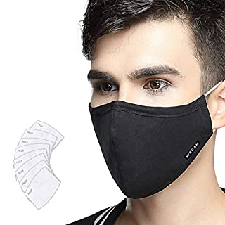 Lyanty Anti-Verschmutzung Mundschutz Maske Staubschut Anti-Allergie Maske PM2.5 Waschbar aus Baumwolle Maske Austauschbar Filter (1 Maske + 8 Filter)