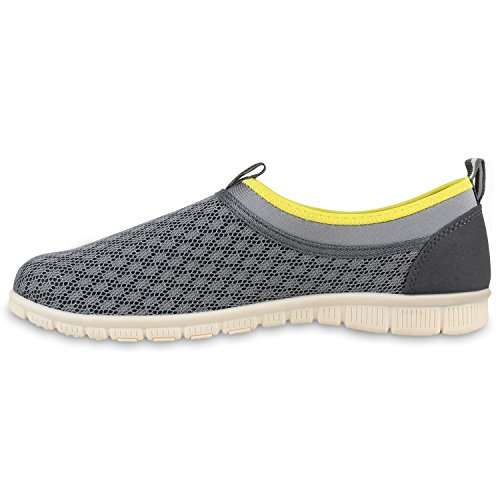 Herren Slipper Sportliche Hausschuhe Freizeit Schuhe Profilsohle Grau Gelb