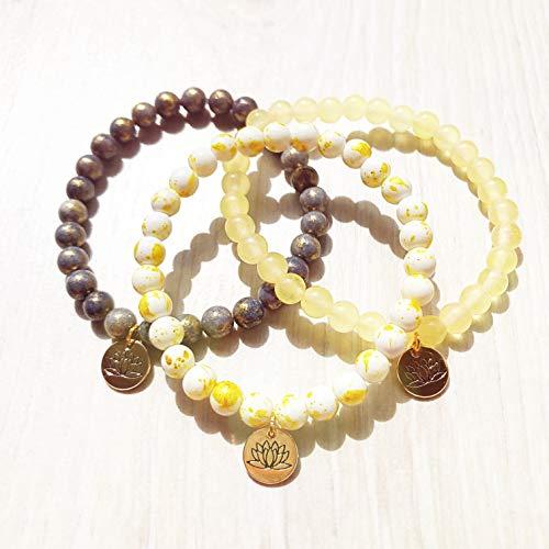 """Conjunto de pulsera Mojoo""""Eclipse Lunar"""" - joyería hecha de piedras curativas/piedras preciosas para yoga - meditación - chakra"""