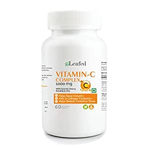 Leafed Vitamin C Complex 1000 mg with Zinc, Rosehip and Acerola Extract for Immunity - 60 Vegetarian Tablets