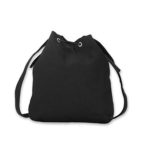Vertvie Damen Schultertasche Canvas Umhängetaschen Mode Handtasche Schwarz