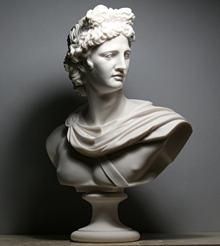 Apollo–busto de griega o romana dios cabeza Estatua Escultura hecha a mano de alabastro 12,6΄ ΄