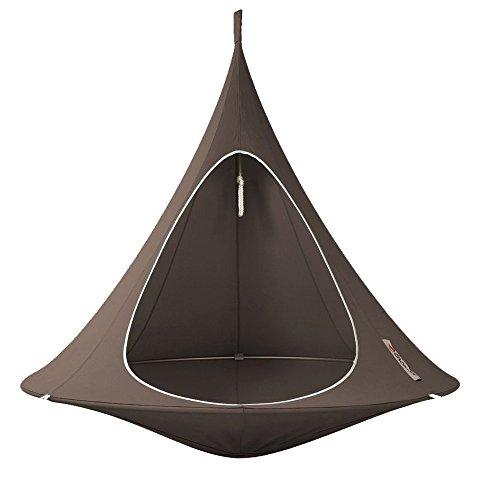 Cacoon Double Taupe 180 cm Hamac Fauteuil suspendu Pare-soleil Meubles de jardin intérieur et extérieur Injoy Chaise longue suspendue pour jardin