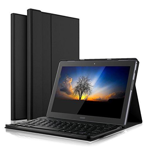IVSO Lenovo Tab4 10 Plus QWERTZ Tastatur, Abnehmbare Wireless Bluetooth Tastatur Schutzhülle mit Standfunction für Lenovo Tab4 10 Plus/Lenovo Tab 4 10 Plus Tablet, Schwarz