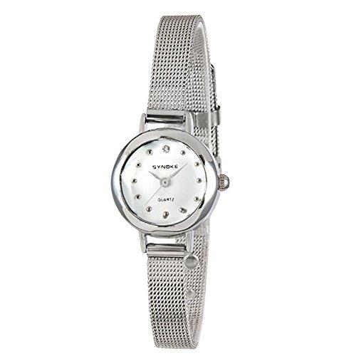 Art und Weiseuhr-Damen net mit beiläufiger Art und Weise Dame-Quarz-Uhr-Retro- beiläufiges Armbanduhr-Frauen-Geburtstag-Geschenk , silver - Uhr Damen Dual Face