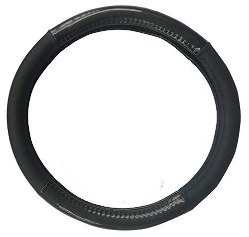 Auto Lenkradbezug Mikrofaser Leder Kohlenstoff Muster Klassische Massage Licht Spleißen (Schwarz)