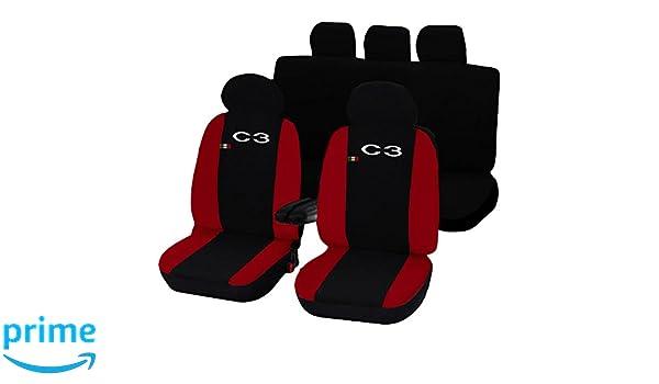 /rot Lupex Shop Sitzbez/üge Citroen C3/zweifarbig schwarz/