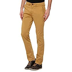 Pepe Jeans Mens 5 Pocket Solid Chinos_Khaki_34