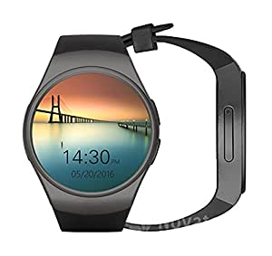 Novateur All-in-1 IPS Round Touch Screen Water Resistant Smartwatch with SIM Card Slot,Sleep Monitor,Heart Rate Monitor and Pedometer(Black)