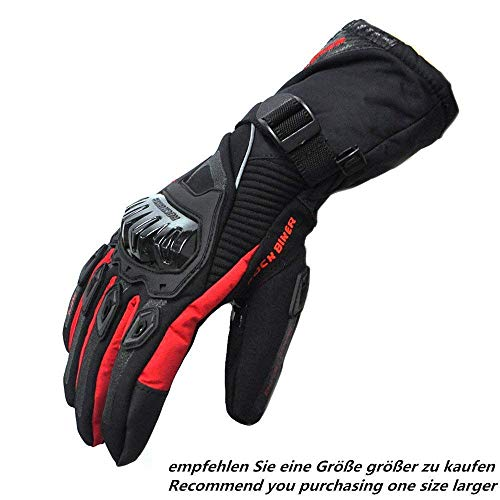 Issyzone Motorrad Handschuhe winter Motorradhandschuhe Touch Screen Handschuhe Wasserdicht Winddicht Sporthandschuhe Warm Handschuhe (XXXL,Rot)
