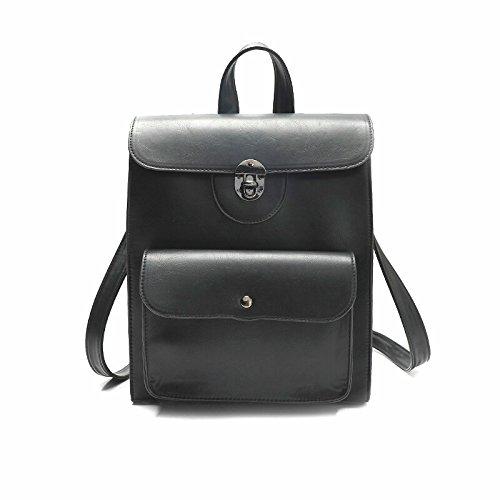 BROWL® Stilvoller einfacher Rucksack aus schwarzem Kunstleder kleine Laptoprucksack für Notebooks bis 13 Zoll