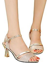 friendGG Fashion High Heel Sandal Schuhe Flache Runde SchuheSommerschuhe Bohemia Flache Sandalen Zehentrenner...