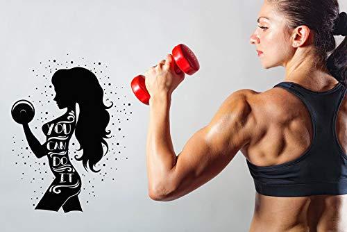 ziweipp Sie können weibliche Fitness Logo Vinyl Gym Wand Applique Gym wanddekoration Wohnzimmer Art Deco wandaufkleber 57 * 75 cm