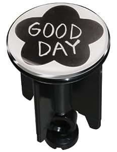 spirella bouchon pour bonde de lavabo motif good day noir cuisine maison. Black Bedroom Furniture Sets. Home Design Ideas