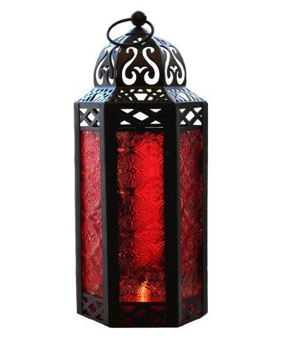 (Rot Glas marokkanischen Stil Kerze Laterne)