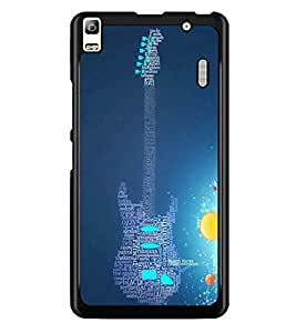 PrintDhaba Typographic Guitar D-3452 Back Case Cover for LENOVO A7000 TURBO (Multi-Coloured)