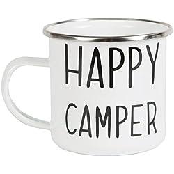 """Taza esmaltada, con texto en inglés """"Happy Camper"""""""