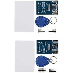 HiLetgo 2pcs RFID kit–Mifare RC522RF Module de capteur de Carte IC + S50Cartes Vierges + Porte-clés Arduino Raspberry Pi