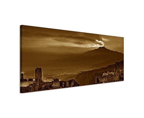 150-x-50-cm-cuadro-panoramico-foto-lienzo-en-sepia-ruinas-anfiteatro-atna-puesta-del-sol