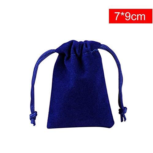 myonly Lot de 10 Sacs de Rangement en Velours uni, Bleu, 7 * 9cm
