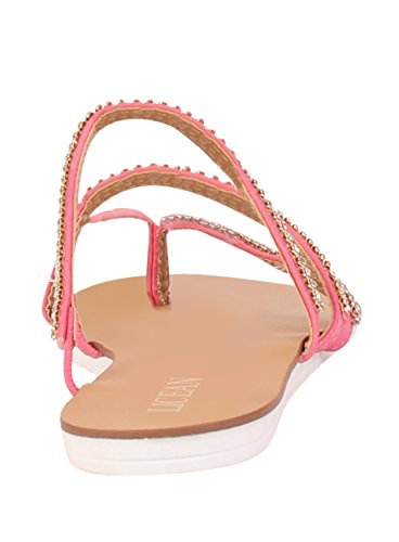 Sandales pour femmes strass pour orteil été Post Tongs asine Chaussures de plage Rose - rose