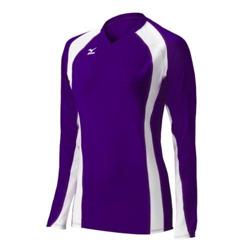 Mizuno Damen Volleyball Techno Volley V Long Sleeve Jersey, Damen, 440441.6000.04.S, violett/weiß, S