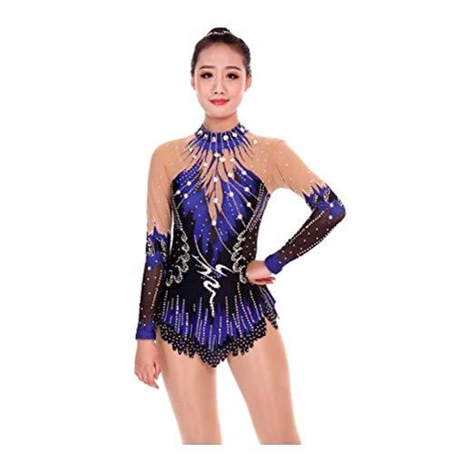 Elastizität Rhythmische Gymnastik Trikots für Mädchen Leistungs-Kleid Handgemachte Kunstturnen Wettkampfanzug Lange Ärmel Damen mit Strass Dunkelblau,Royalblue,Child12