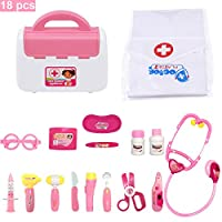 FUQUN Durable Kids Doctor Kit Pretend Play Toy Role Play Set 18 Pieces with Electronic Stethoscope for Boys and Girls,Kids Doctor Clothes - Pink